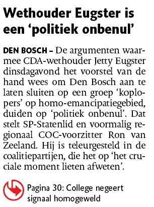 Jetty Eugster - Ron van Zeeland - discriminatie - COC - lhbt
