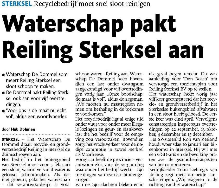 Reiling Sterksel - Waterschap - milieu