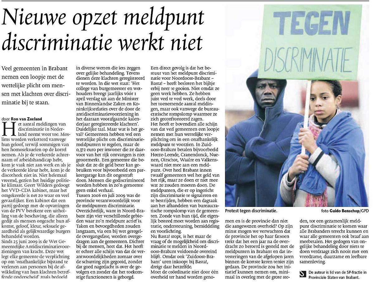RADAR - discriminatie - Brabant - LHB T - Ron van Zeeland