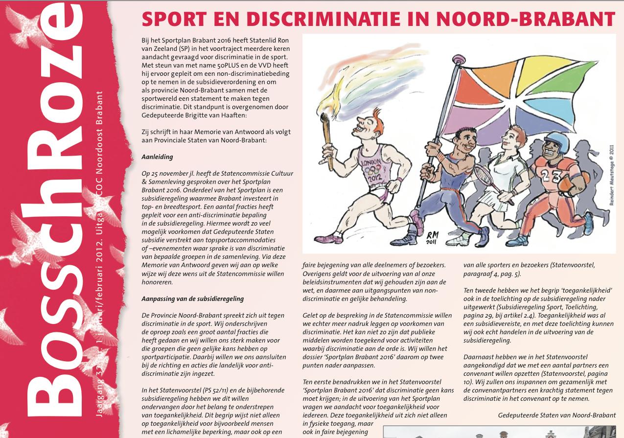 sport - discriminatie - lhbt - gehandicapten - Brabant - COC