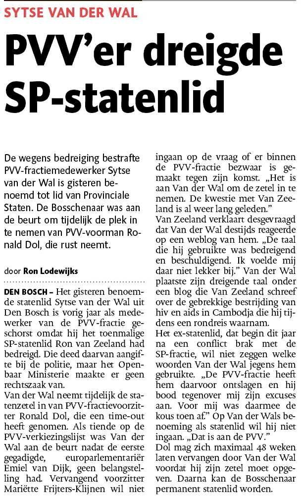 PVV - SP - Ron van Zeeland